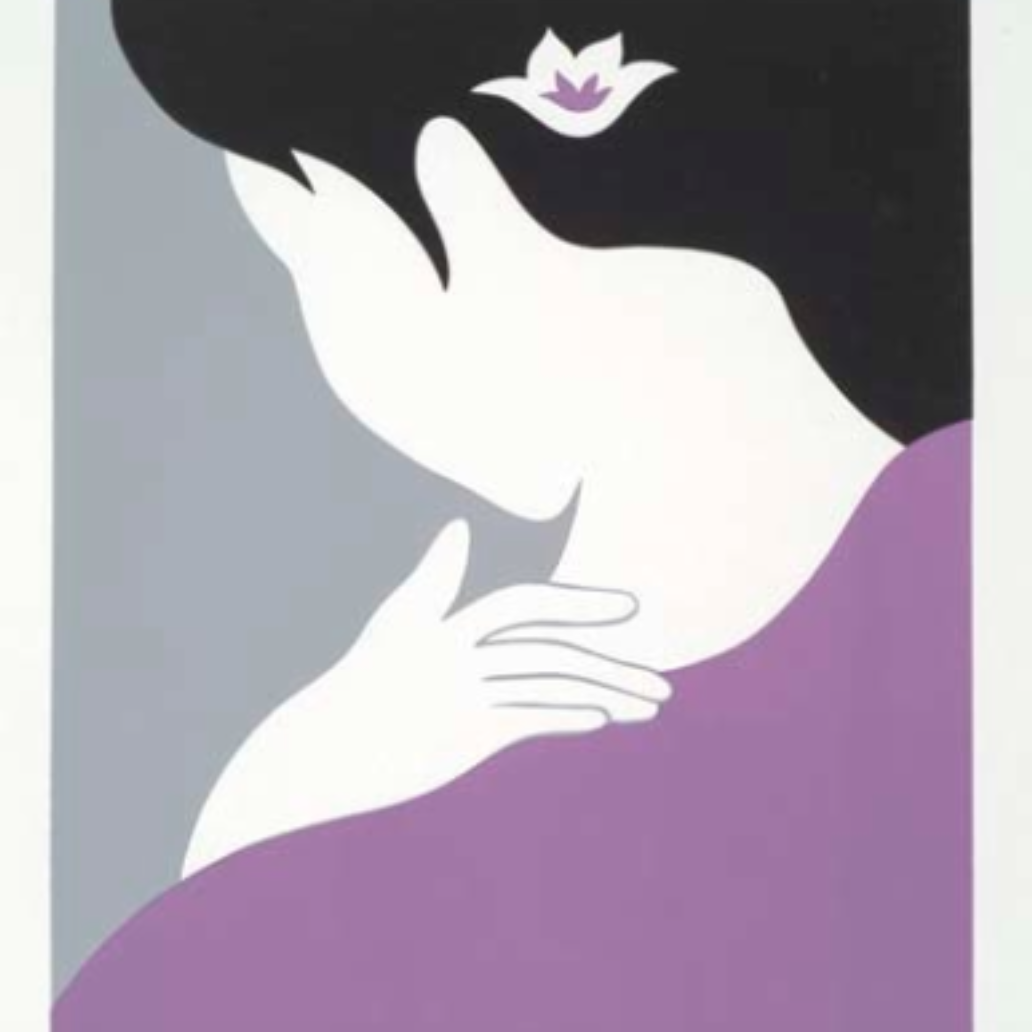 """Contemplating Women,"" silkscreen by Nancy Hom."