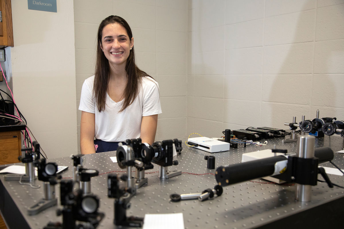 F&M junior Jill Ireland helped Professor Lytle with a series of experiments F&M's Department of Physics and Astronomy designed to let students investigate the strange behavior of quantum mechanics.