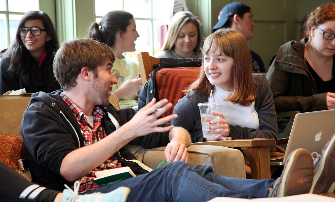 Students chat between author panel discussions during the 2016 Emerging Writers Festival at the Philadelphia Alumni Writers House.