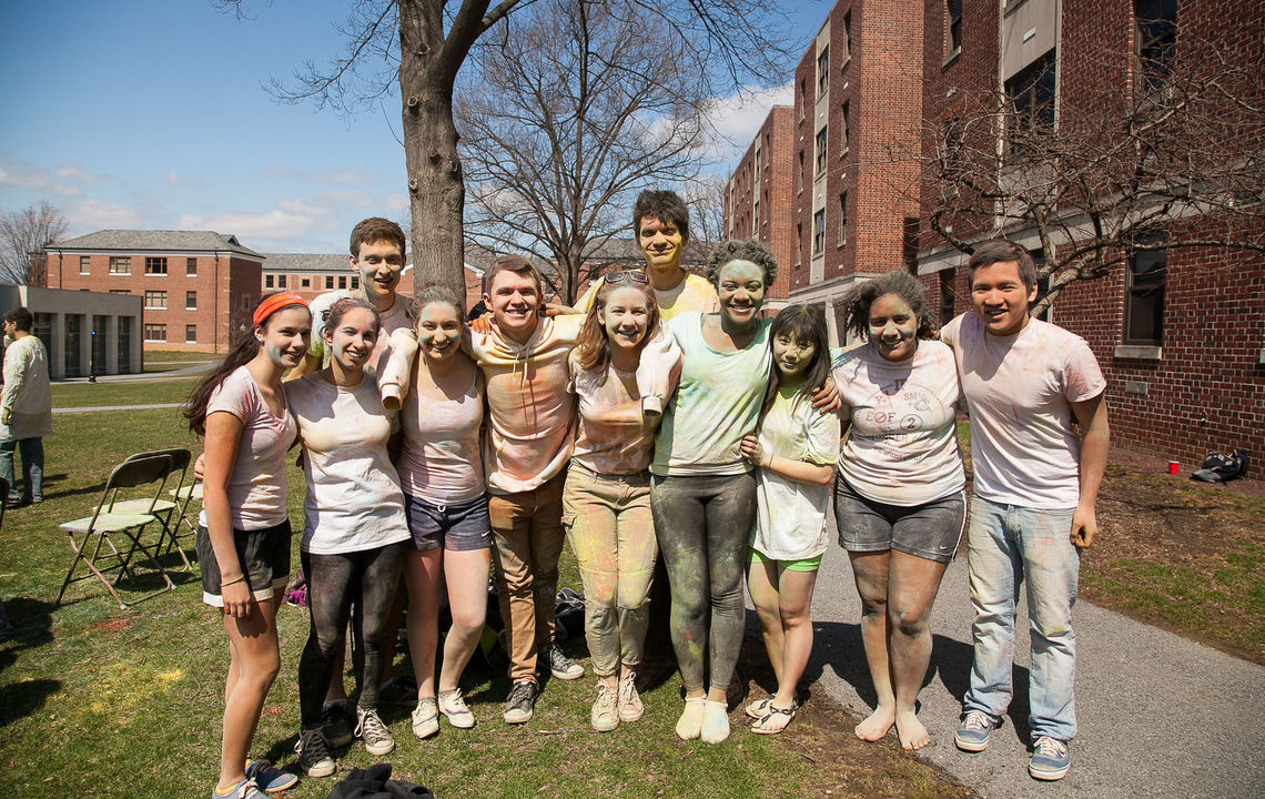 Students participate in the Indian spring festival of Holi on the residential quad.