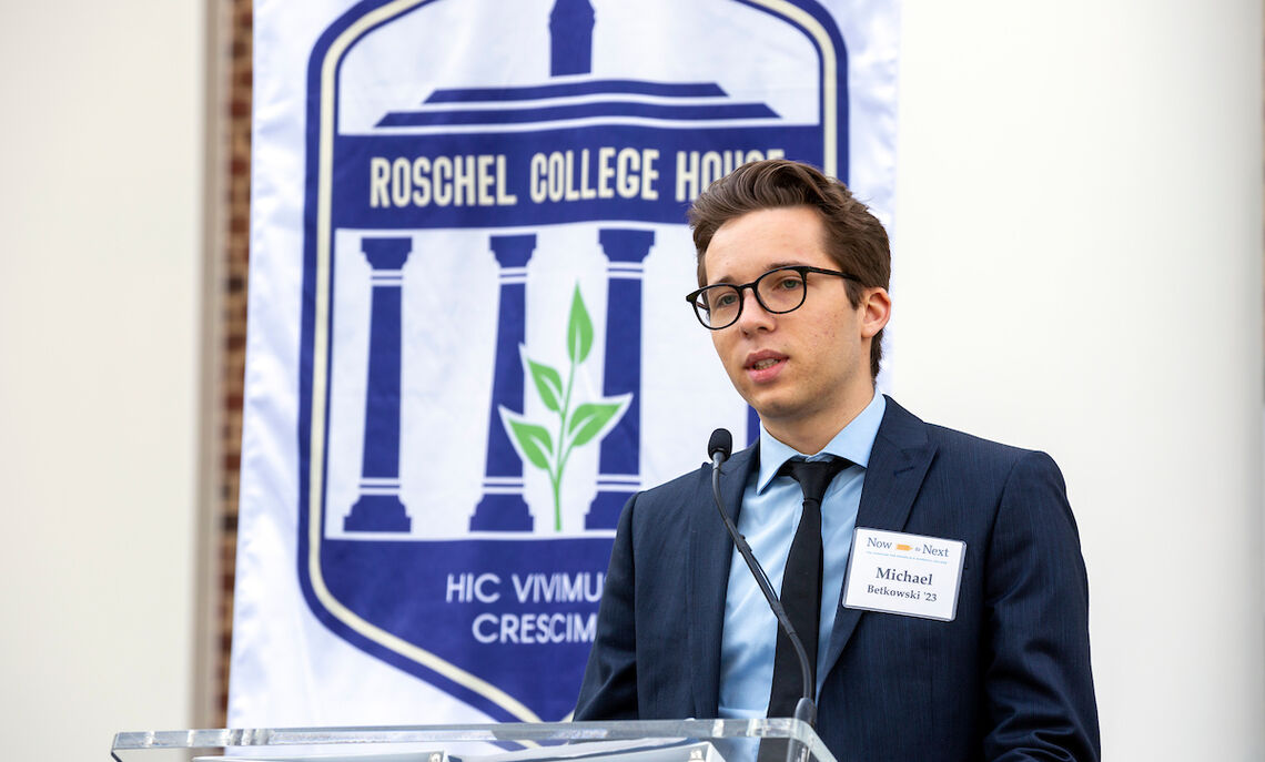 """Sophomore Michael Betkowski began his remarks with the College House's Latin motto and says, """"Literally, 'here we live and here we grow' … nothing could be truer."""""""