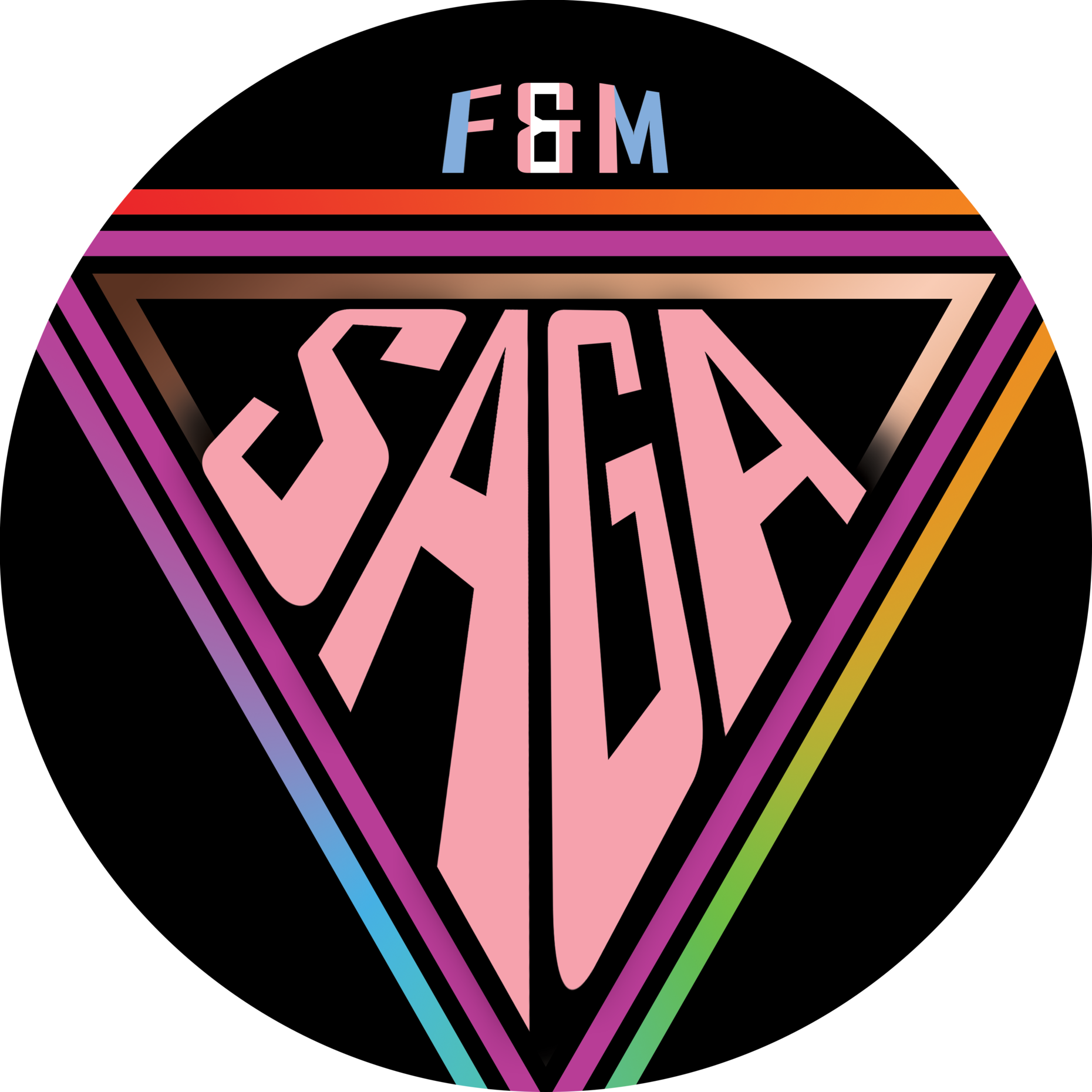 SAGA in pink fitted inside an upside down rainbow triangle, with the letters F&M resting atop with the trans pride flag colors