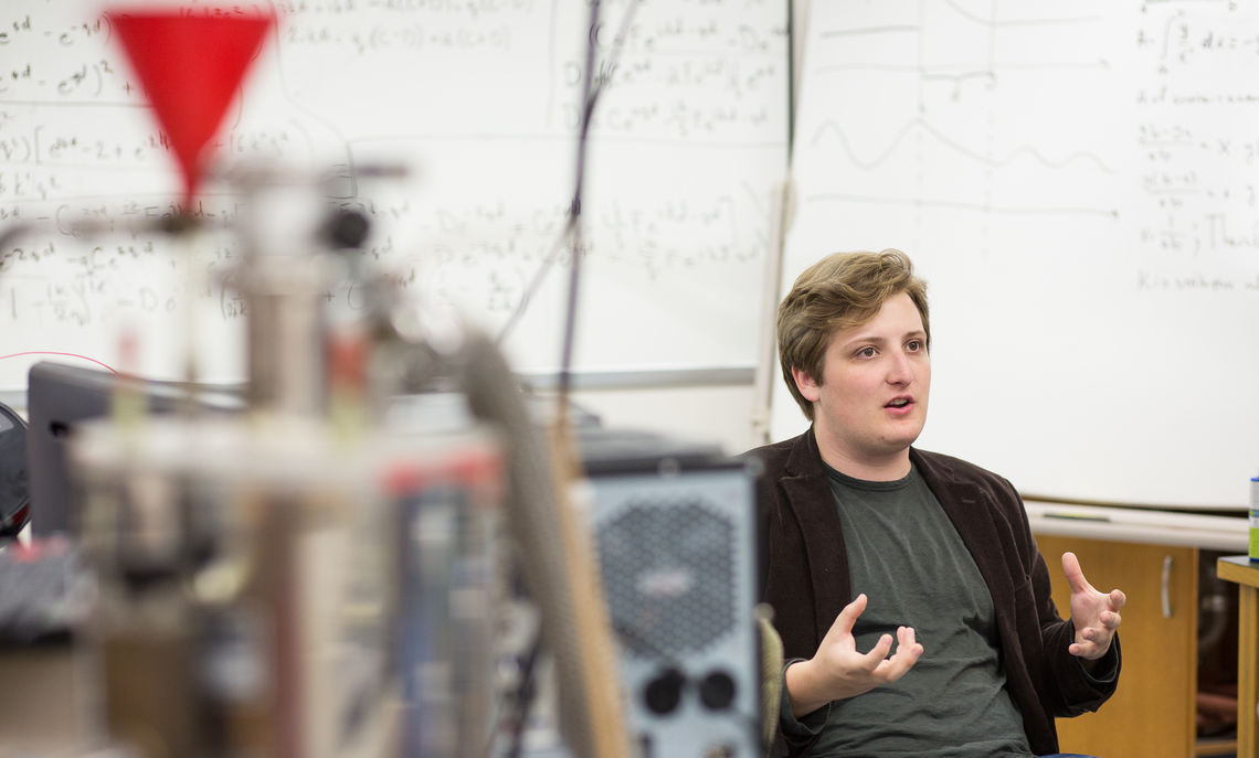 Senior astrophysics major Matthew Tibbetts' research project is designing and building a habitat model for long-term life on Mars.