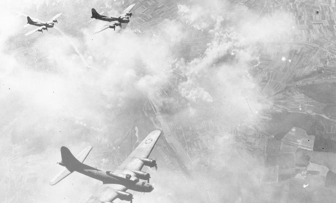Taking aim at ball-bearing factories, the B-17 Flying Fortresses assume formation over Schweinfurt, Germany in August 1943.
