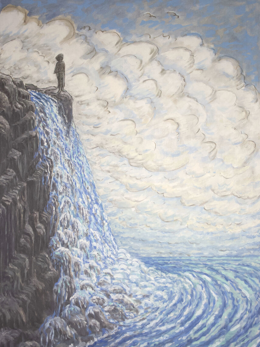 Oil on linen by Francie Lyshak of a grey figure standing at the top of a waterfall. Clouds fill the background of the painting.