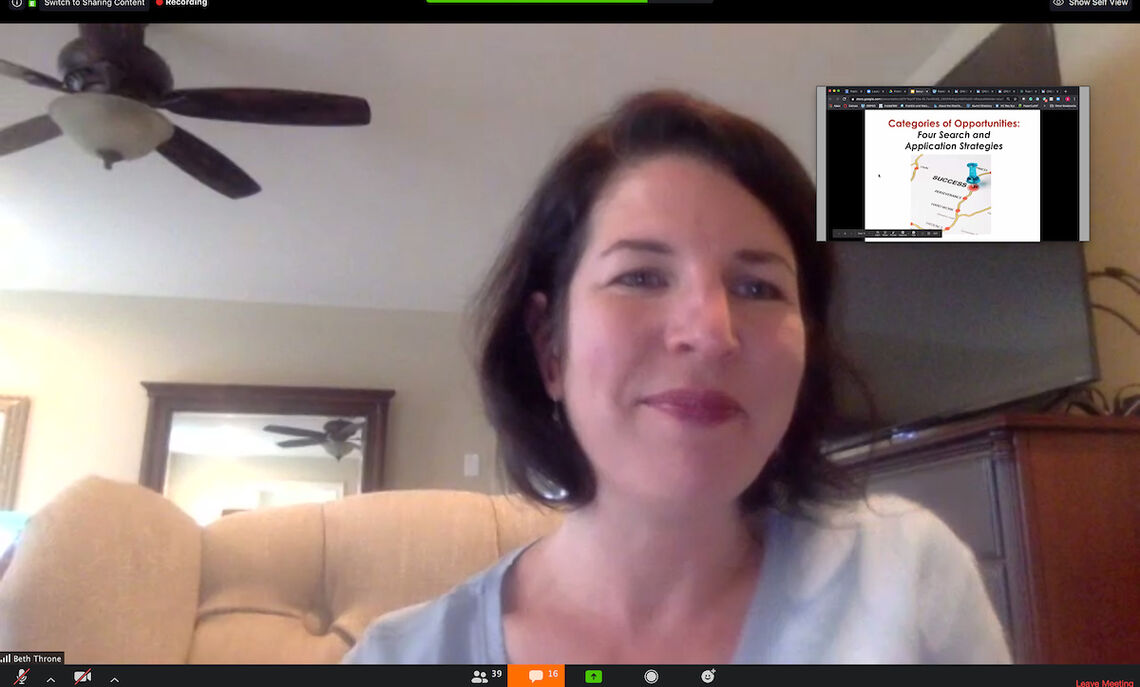 """Beth Throne in the OSPGD Webinar: """"Identifying Summer Opportunities and Experiences in this COVID-19 Environment"""""""