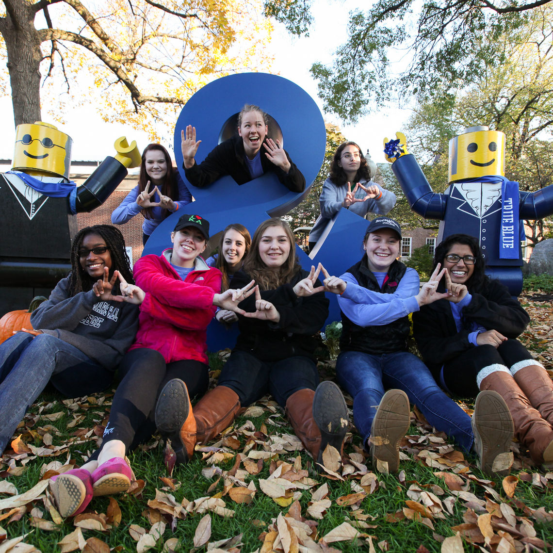 Ampersand Andy and friends, always a big hit with F&M students and alumni, was a photo magnet at the Tailgate Party.