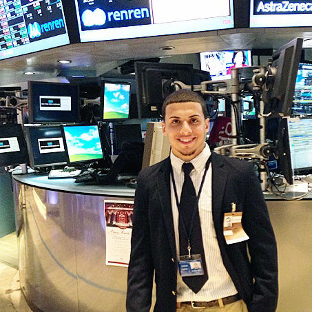 F&M sophomore Tristan Lopez prepares for another day on the New York Stock Exchange trading floor. He spent his summer on Wall Street, interning with trading firm Mogavero, Lee and Co.