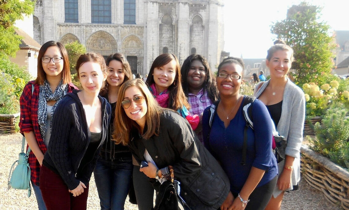 """While Assistant Professor of French Carrie Landfried's students were studying Chartres Cathedral on campus, the students abroad visit the town of Chartres and its renowned 12th century gothic cathedral, famous for extraordinary stained-glass windows and medieval statues. """"We were fortunate to enjoy perfect lighting while in the cathedral,"""" Professor of History Maria Mitchell says."""