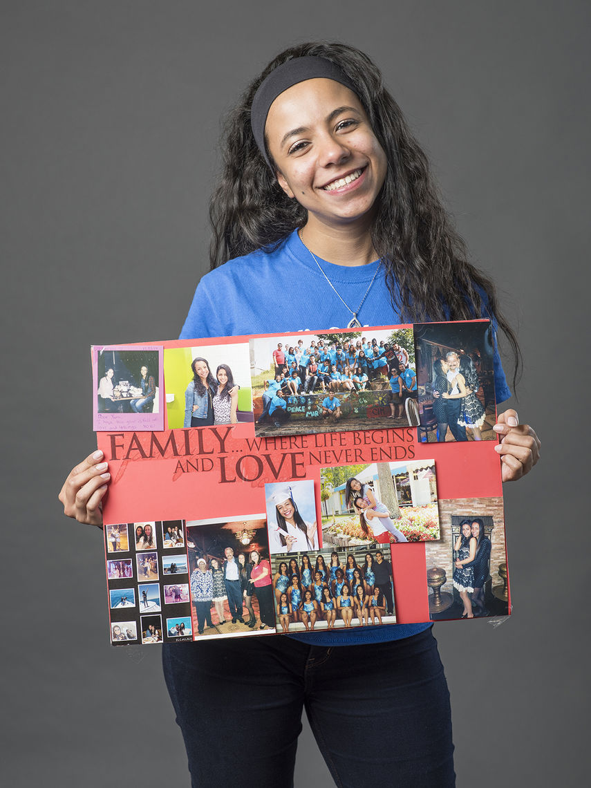Yara Ibrahim, from Egypt, enjoys looking at the photo collage she made of her friends and family.