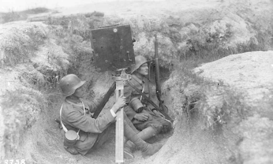 Two German cameramen film on the Western Front in 1917.