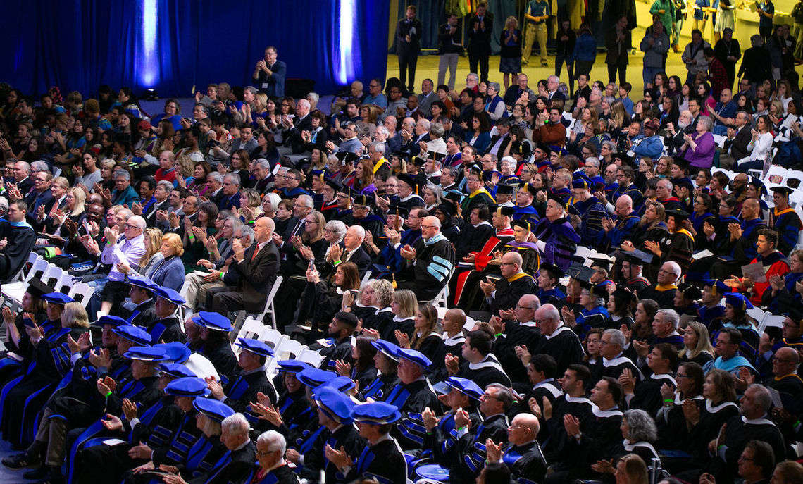 More than 1,000 people attended the inauguration ceremony of Barbara K. Altmann, the College's 16th president, Saturday morning in the Alumni Sports and Fitness Center. The celebratory atmosphere continued immediately following the ceremony at the TRUE BLUE Weekend picnic, which a wind-driven rain forced indoors.