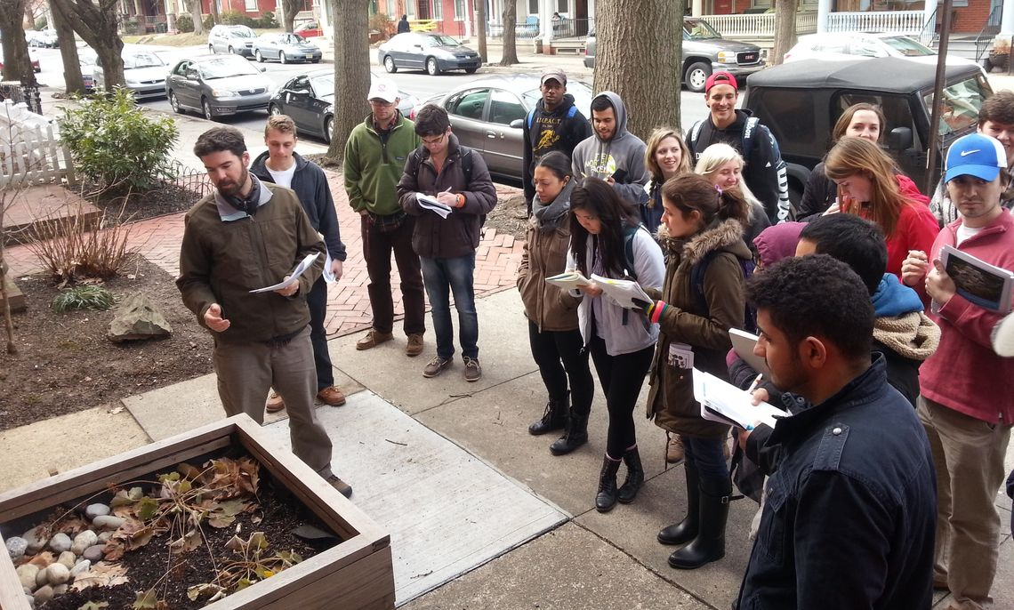 """Franklin & Marshall students surveying the city of Lancaster to determine the needs for a """"green infrastructure."""""""