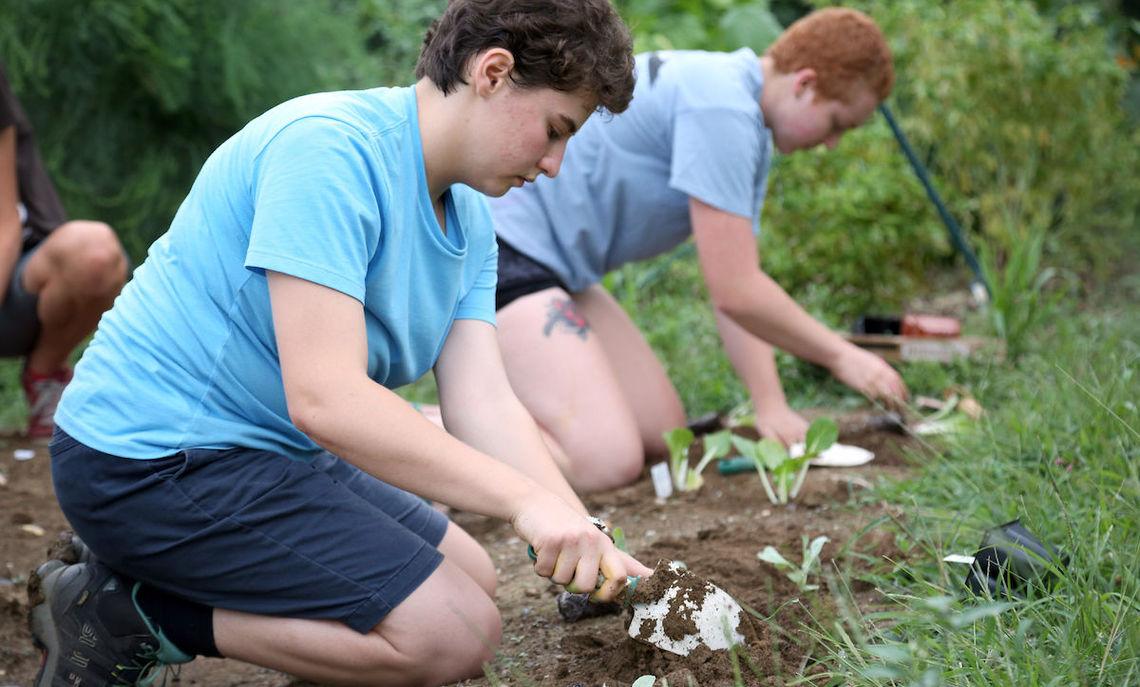 E. Marcovitz and Charlotte McAdams plant seedlings.