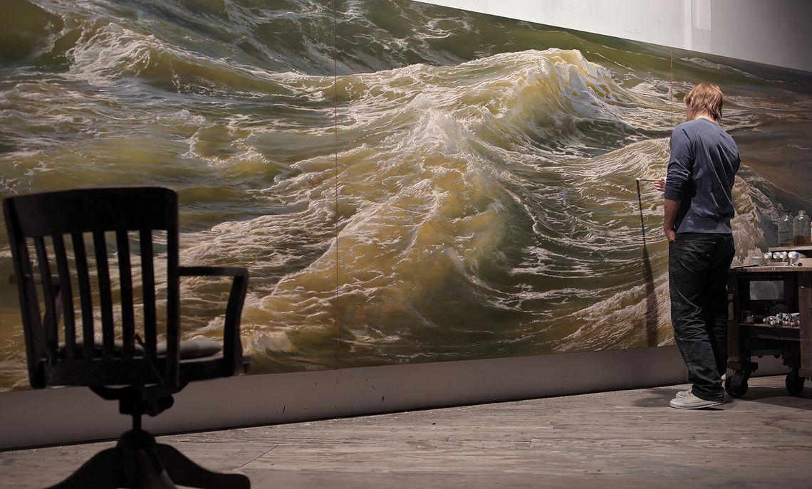 Ortner works in his studio on Deep Water No. 1.