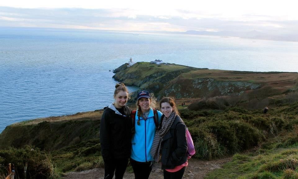 Elana Machlis '15 (far right) poses with friends at a point atop the peninsula of Howth Head, which forms the northern boundary of Dublin Bay.  Howth is also home to one of the oldest occupied buildings in Ireland, Howth Castle.