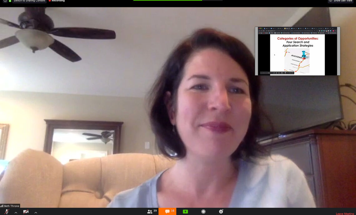 Beth Throne, associate vice president for student and post-graduate development, hosting a virtual event for OSPGD