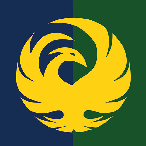 "Our house crest contains a yellow phoenix in full plumage over a divided field of blue and green. The phoenix and its myth, represent the college and life experience of Brooks College House members to which we hope they all aspire. As in the myth of the phoenix, a new house member leaves behind their previous young life and immerses themselves in the symbolic ""fire"" of their Franklin & Marshall education and Brooks House experience. As with the myth of the phoenix he or she emerges from the fire ""reborn"" as a liberally educated adult and an outstanding citizen prepared to enter their profession, their community, and their world."