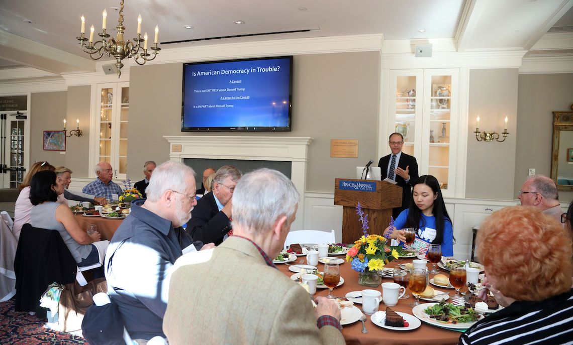 """… share lunch with alumni at the Nevonian Society Luncheon where the Honorable & Mrs. John C. Kunkel Professor of Government Stephen Medvic discussed the topic, """"Is American Democracy in Trouble?"""""""