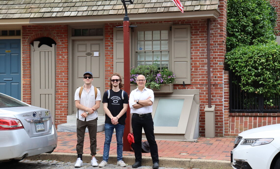 With Art History Professor Kourelis, rising junior Wiley Corlett left, and rising senior Aubrey Saunders, are mapping the path of immigrants in 19th and early 20th century Philadelphia.