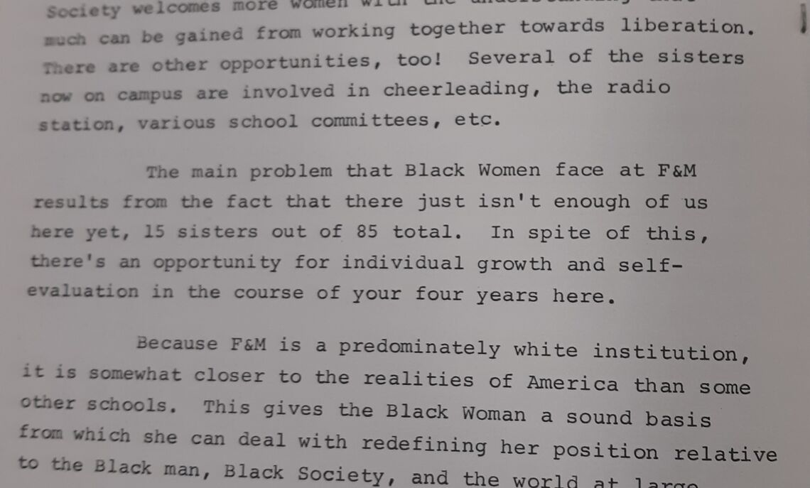 An excerpt from the Afro-American Society's pamphlet that depicted Beverly Nelson Muldrew's '71 (F&M's first Black female graduate) goal for Black women on campus.