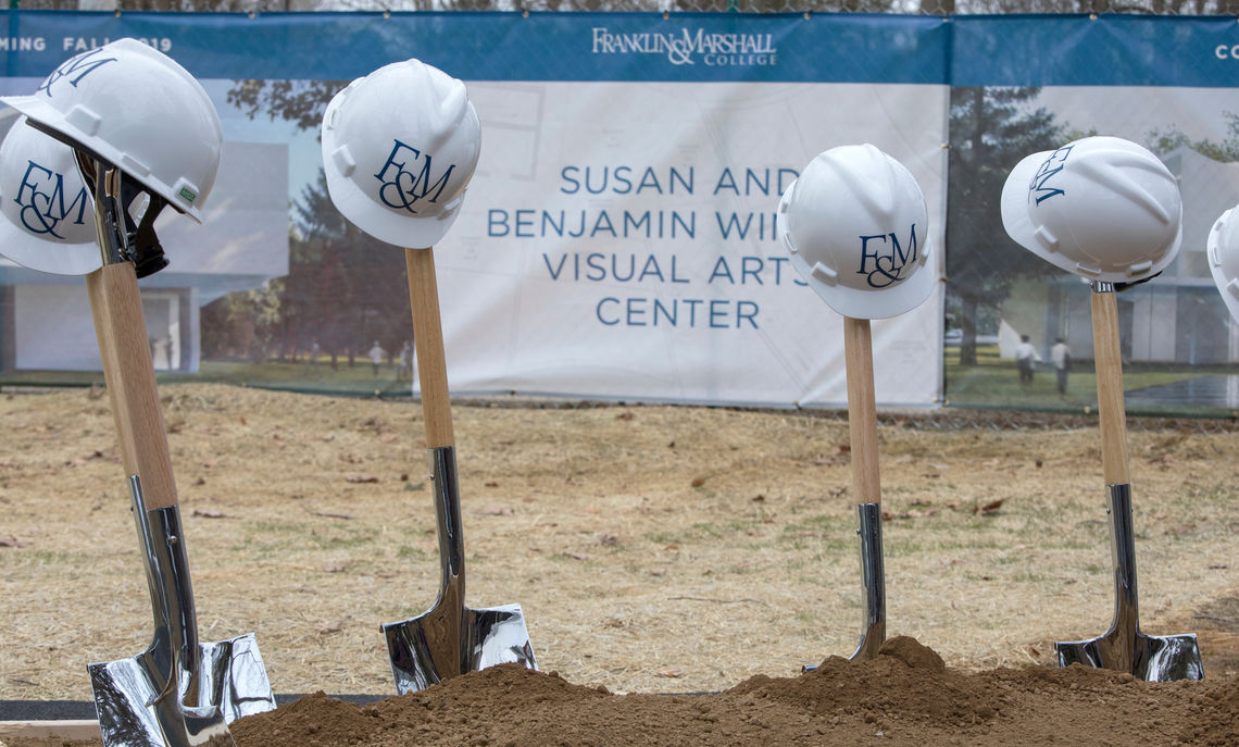 Hard hats perched atop shovels greet the F&M community as it celebrates the groundbreaking of the Susan & Benjamin Winter Visual Arts Center.