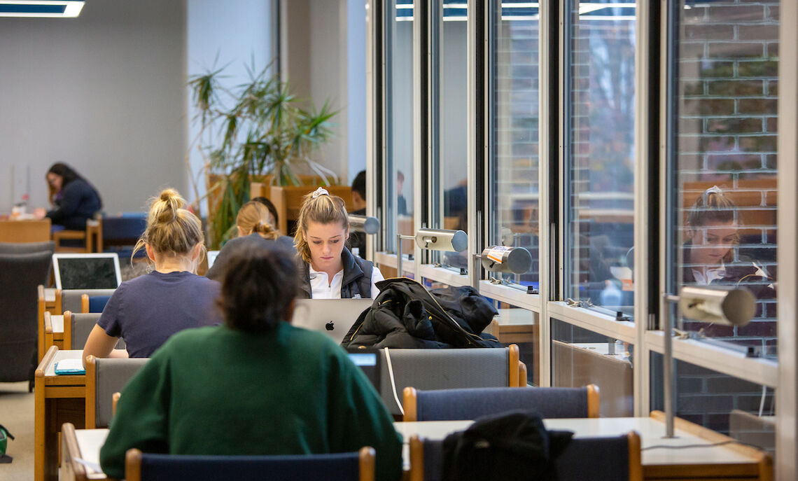 Students study for finals in Shadek-Fackenthal Library in December 2019, prior to F&M's shift to virtual classes due to COVID-19.