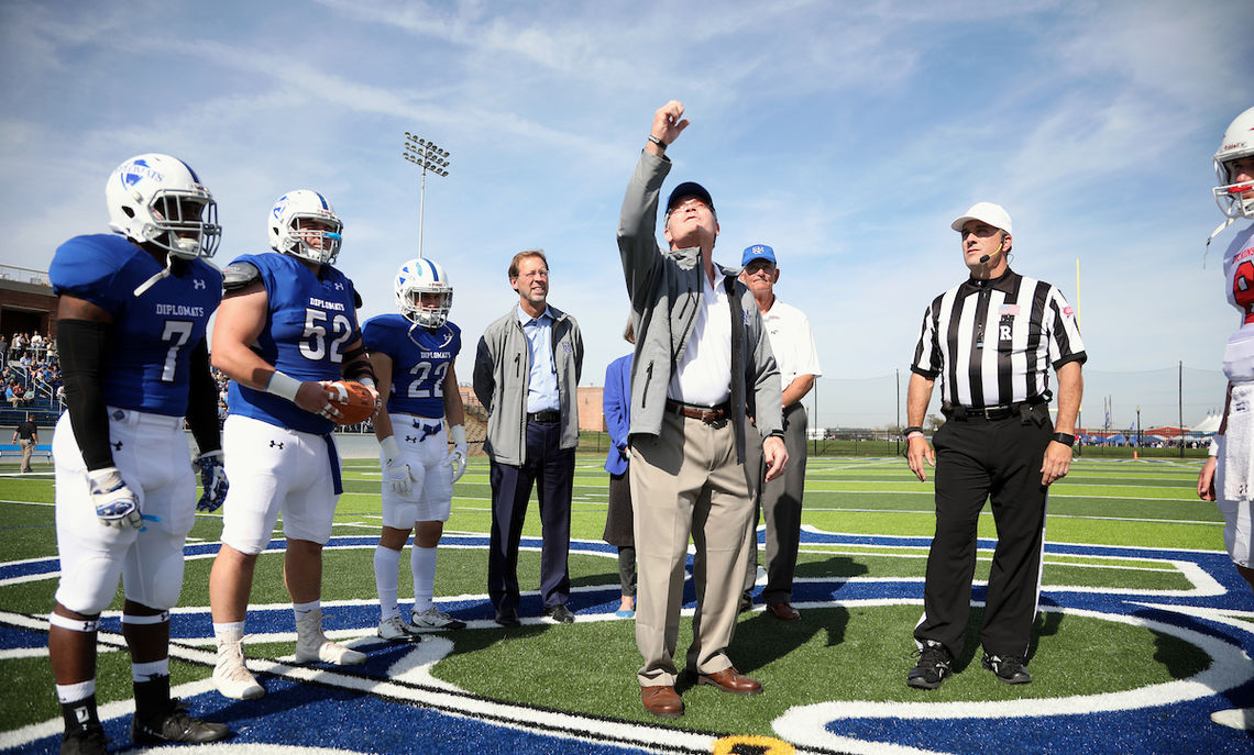 Larry Shadek's coin toss on the facility's Coach Tom Gilburg Field ceremoniously opened the stadium to a new era of football and men's and women's lacrosse.