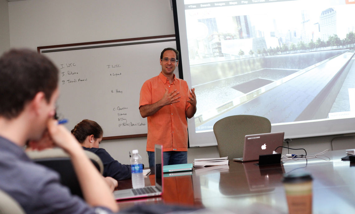 "Professor Lee Franklin teaches a summer course ""On Memory"" in Barshinger Life Sciences building. During this class they discuss the significance related to the design of the World Trade Center Memorial in NYC."