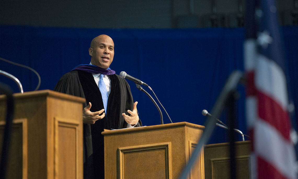 U.S. Sen. Cory A. Booker delivers an impassioned Commencement speech to F&M's Class of 2018.