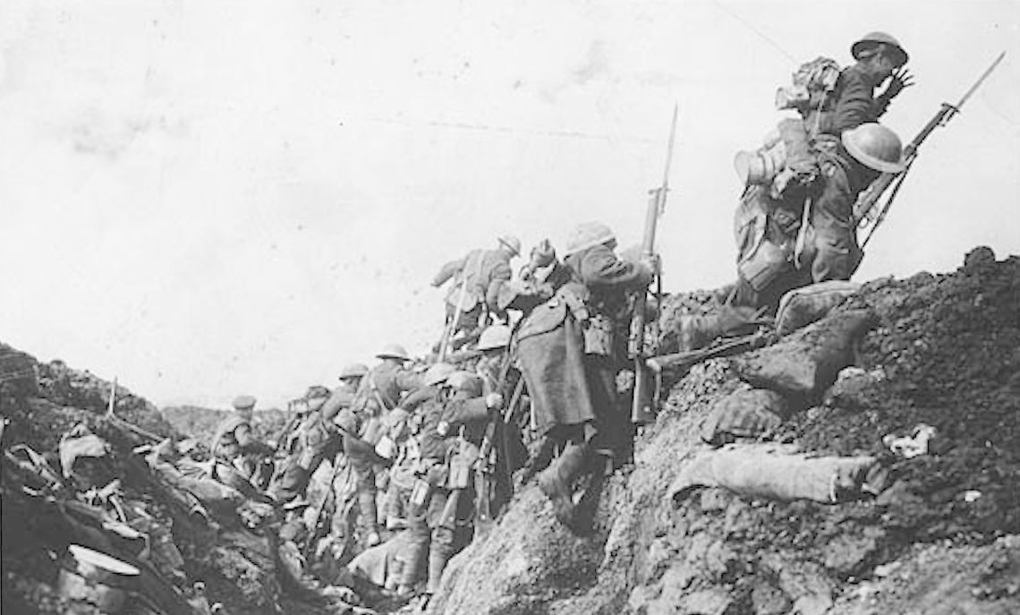 A Canadian battalion climbs out of the trenches and into battle.