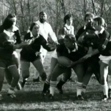 women's rugby celebration