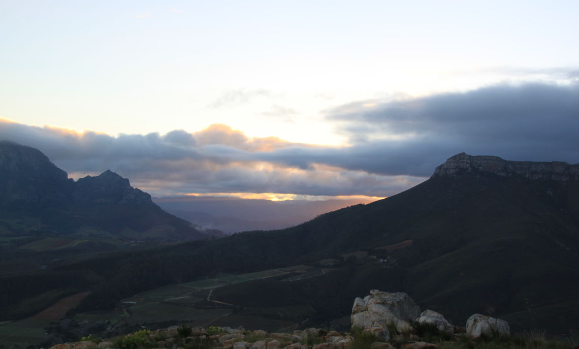 Atop Stellenbosch Mountain, where the professors and students hiked to see the South African sunrise.
