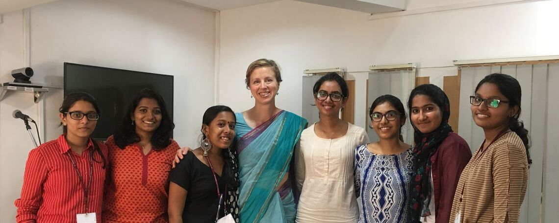 Prof. Rauser with her students at St Teresa's College, Kochi, India 2019