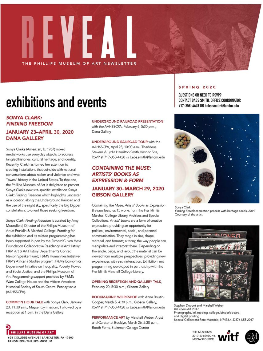 Image of the Phillips Museum of Art's Spring 2020 Newsletter