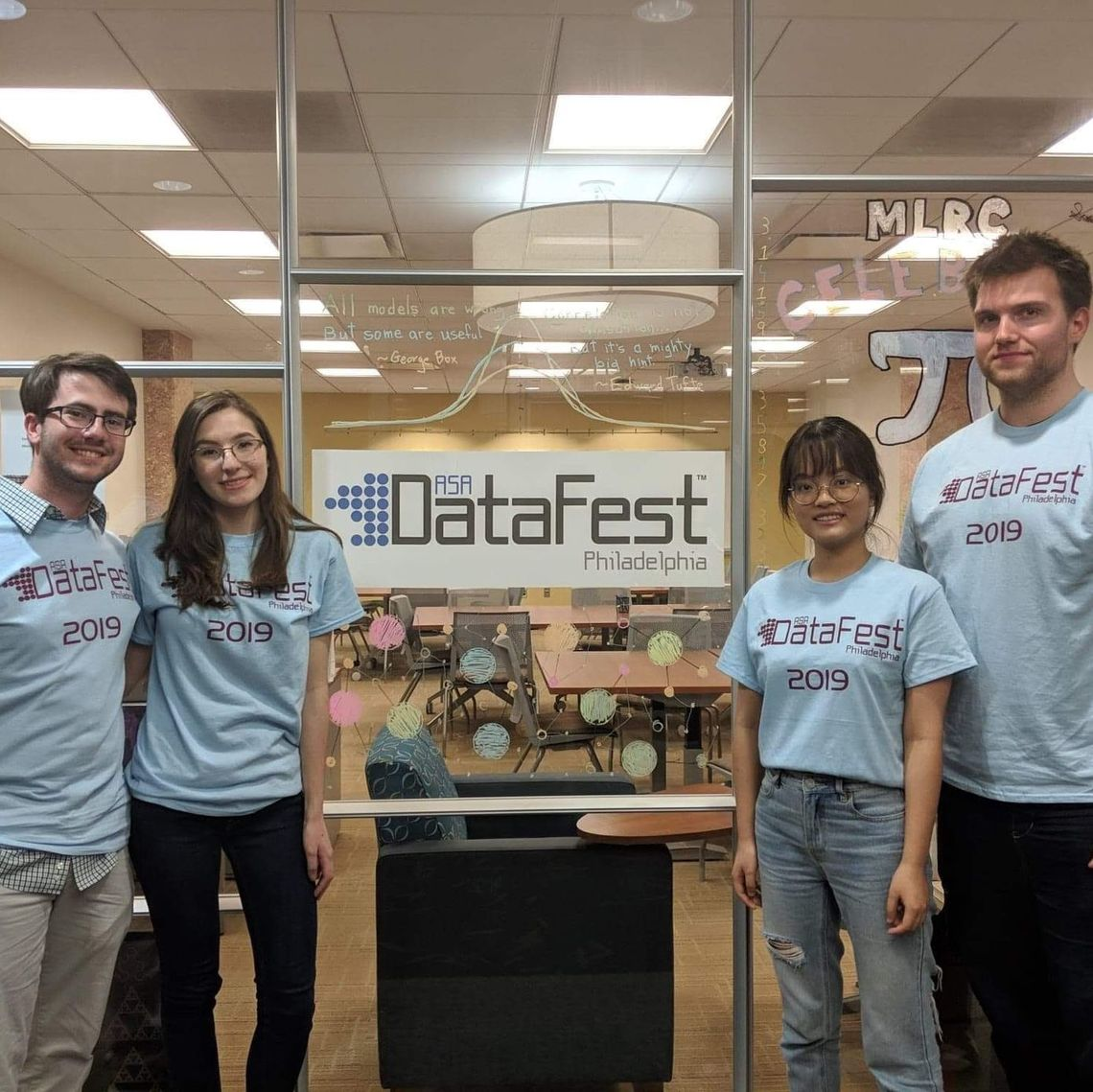 For 48 hours one weekend in early April, these four mathematics majors interested in statistics and data science mined data round-the-clock in a competition with teams from other colleges.