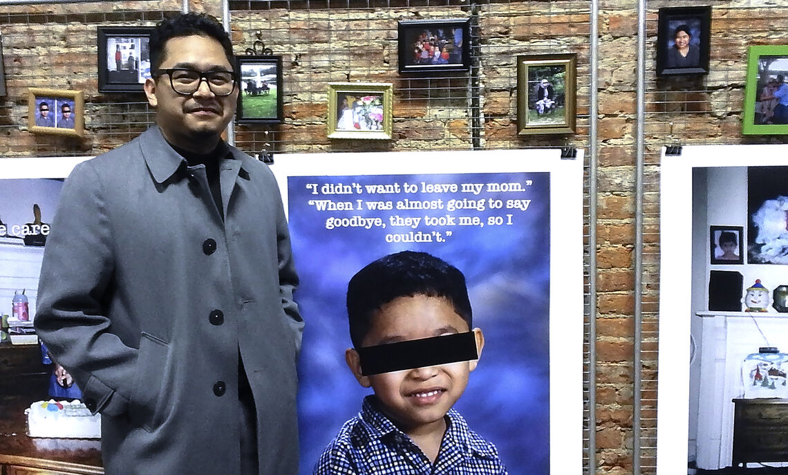 """I didn't want to leave my mom,"" -- Garcia with the exhibit that he wanted to show."