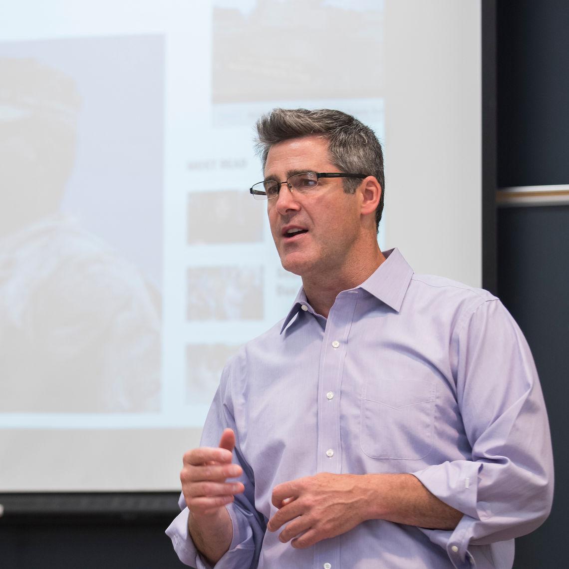 Bryan Stinchfield speaks during Alumni Weekend 2018