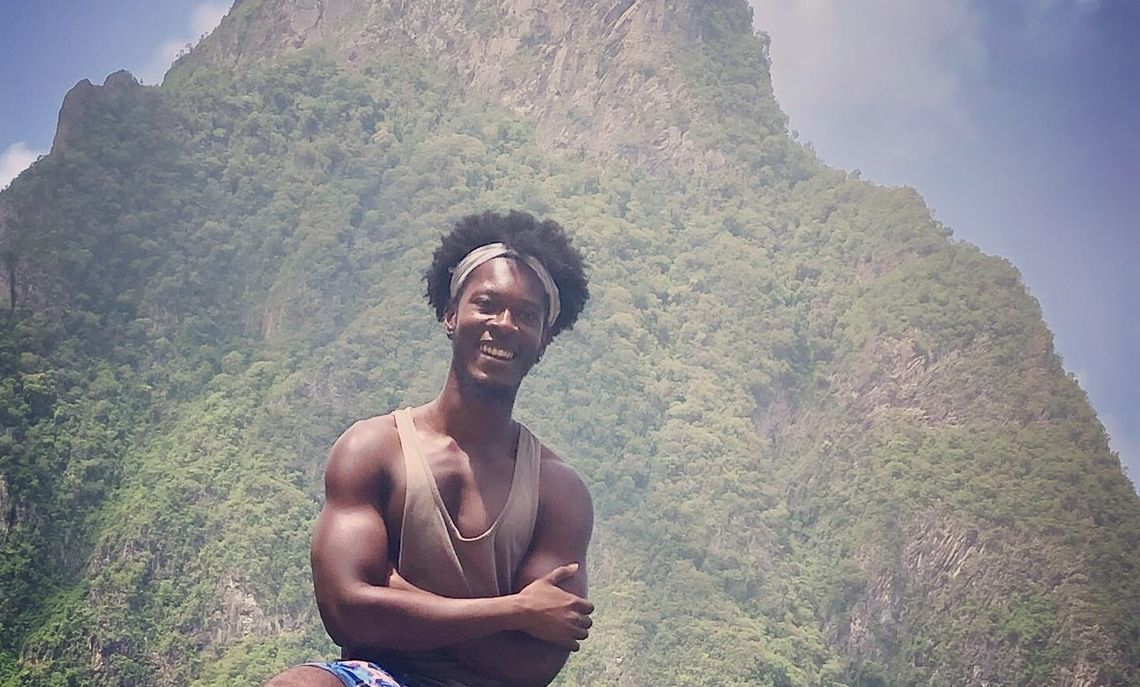 Glover in front of the Gros Piton mountain in St. Lucia