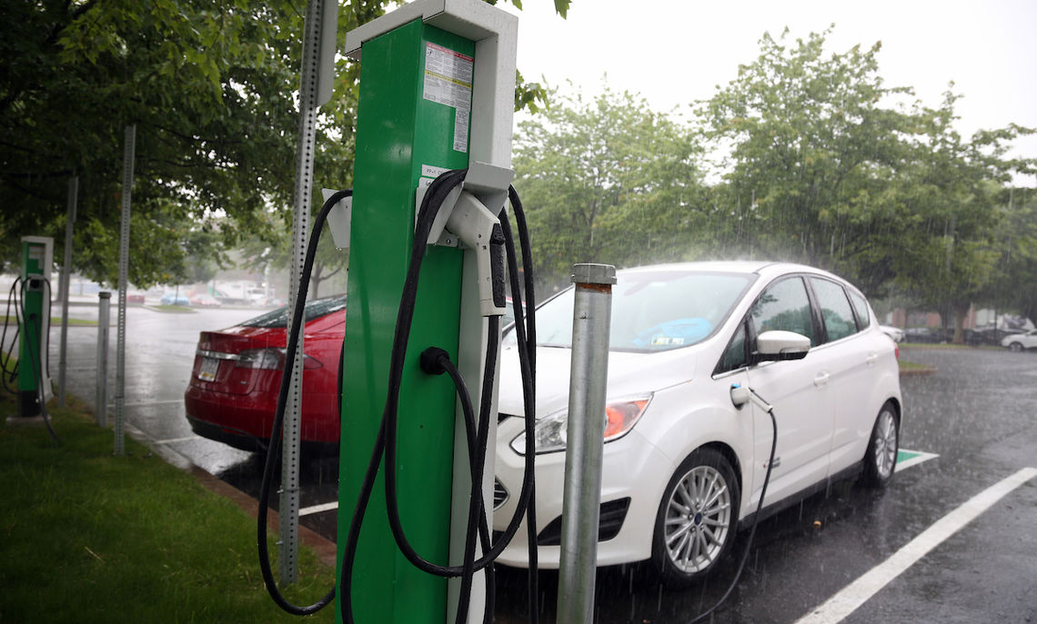 rain shine or gloom of night electric vehicle motorists can pull up to one of two dual ev charging stations in college square