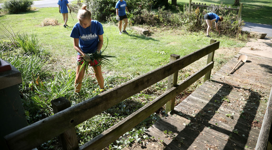 PIT students do yard work at Landis Valley Museum.