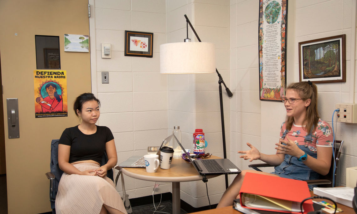 "Amelia Cadwell '19 and Kathleen Miao '20 conduct summer research with Professor Eve Bratman on their project, ""The Honeybee in Global Environmental Politics."""