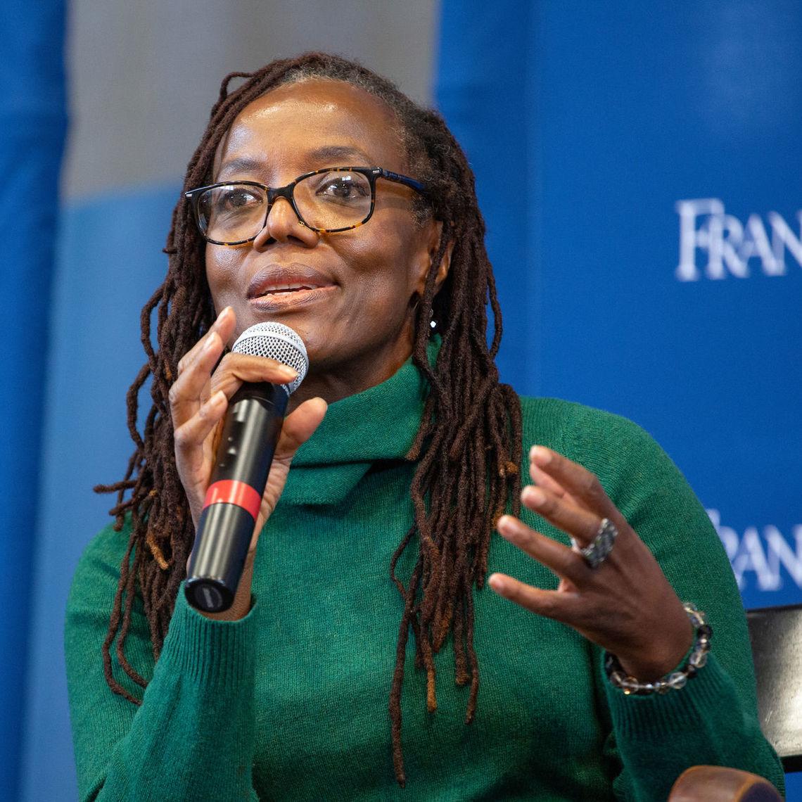 Tsitsi Dangarembga, a Zimbabwean author, filmmaker and activist, speaks at the March 7 Common Hour.
