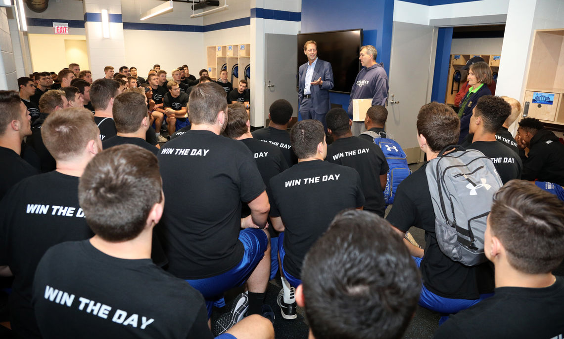 President Porterfield addresses members of the F&M football team in their new locker room before their inaugural practice at Shadek Stadium last fall.