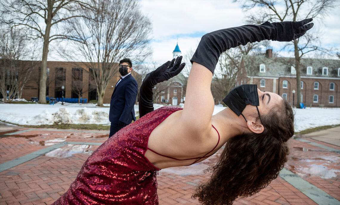 Karen Rosviar and Andrew Montoya prepare a dance that is a remake of a duet that Karen was making last spring with Vicente Brambila '20, who passed away suddenly about a month ago (a huge loss for us in dance, and all around campus). The duet never got performed because of the pandemic. Remaking it is a way for her to honor Vicente. (Andrew is dancing his role.) The title of the duet is: Noche de Tangos Porteños
