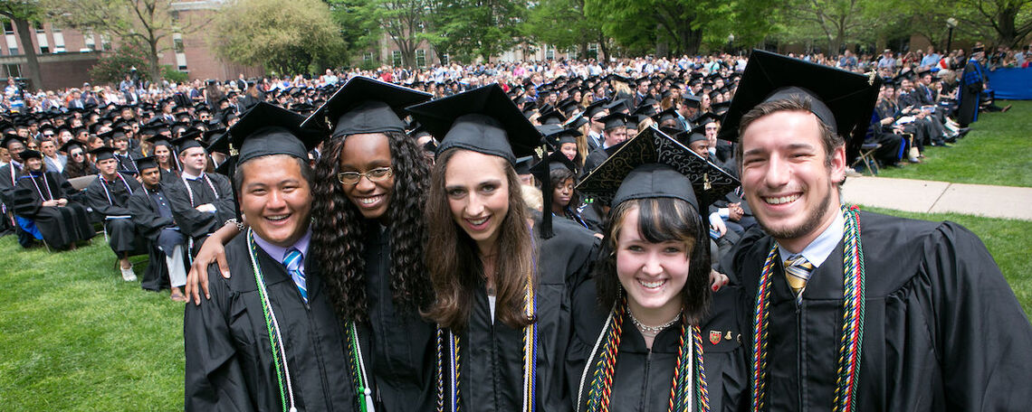 Graduates on Hartman Green at one of F&M's past Commencements.