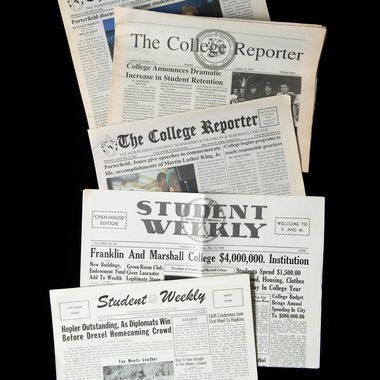 Though the print versions are a thing of the past-The College Reporter became an online publication several years ago-student newspapers have a rich history at F&M. The Student Weekly was created in 1915 with the merger of The F&M Weekly, then the College's primary newspaper, and The College Student, the monthly literary publication of the Diagnothian and Goethean literary societies. The College Reporter originated in 1964 and continues to serve as the independent student newspaper.