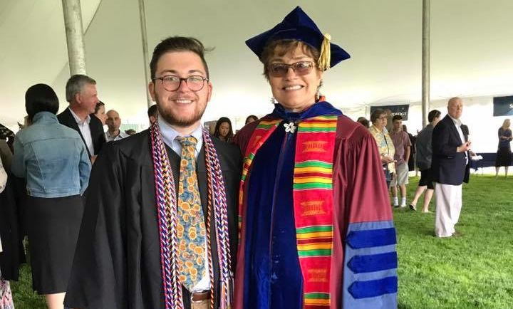 AMS Chair Carla Willard poses with AMS Honors Recipient and Sener Prize Winner Wyatt Behringer '18 at Commencement.