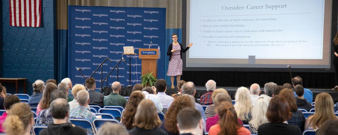 Professor Laura Hamilton at the April 18 Common Hour.