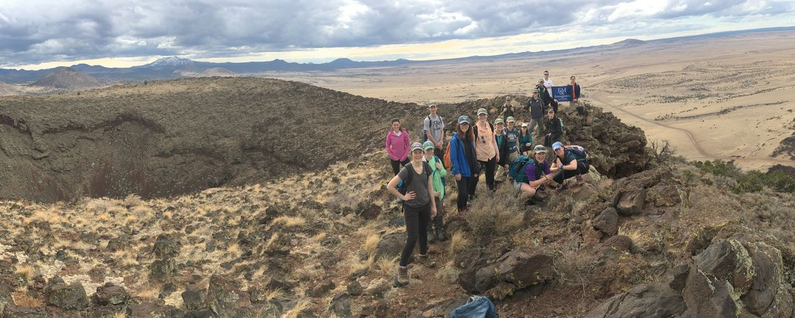 Group photo at the summit of S P Crater in the San Francisco volcanic field just north of Flagstaff, Ariz.